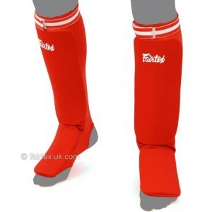 Fairtex Red Elastic Competition Shin Pads SPE