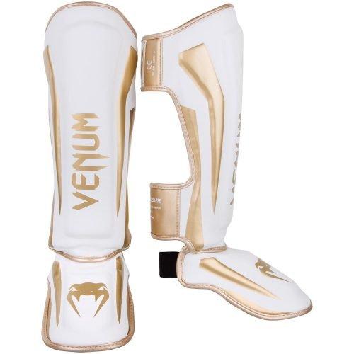 Venum Elite Standup Shin Guards White Gold