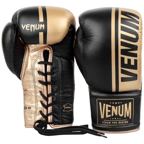 Venum Shield Pro Boxing Gloves Black Gold - With Laces