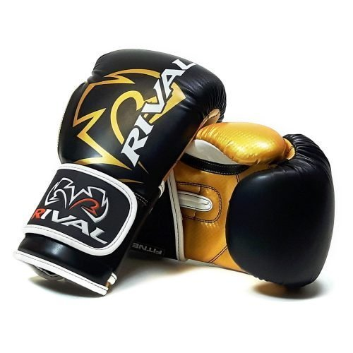 Rival RB7 Fitness Bag Training Boxing Gloves Black Gold