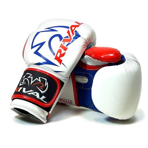 Rival RB7 Fitness Bag Training Boxing Gloves White Blue Red - rival boxing gloves