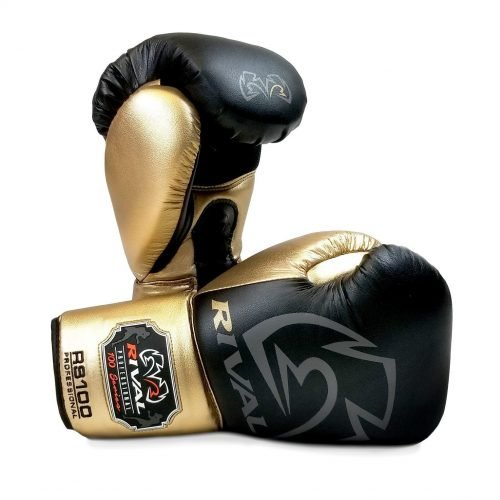 Rival RS100 Professional Sparring Boxing Gloves Black Gold