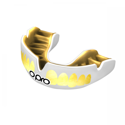 OPRO Power Fit Bling White Gold Mouth Guard
