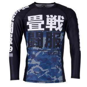 Tatami Kids Essential Camo Long Sleeve Rash Guard Blue