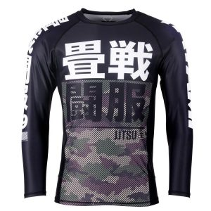 Tatami Kids Essential Camo Long Sleeve Rash Guard Green
