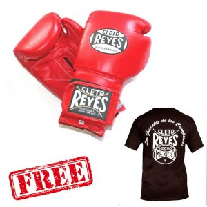 FREE Cleto Reyes Logo T-Shirt Black + Cleto Reyes Velcro Wrap Around Gloves Red