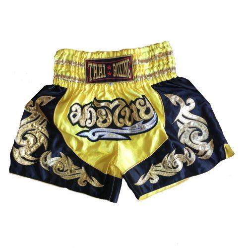 Muay Thai Classic Shorts Black Yellow Gold