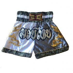 Muay Thai Classic Shorts White Silver Gold