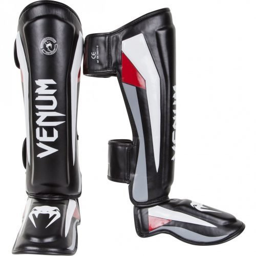 Venum Elite Shin Guards Black Red Grey - MMA Shin Guards