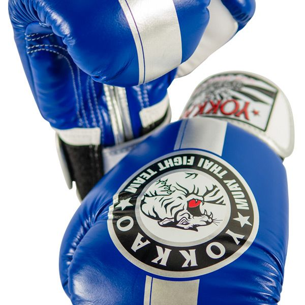 YOKKAO Official Fight Team Boxing Gloves Blue Silver