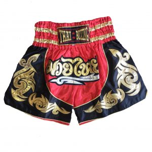 Muay Thai Classic Shorts Black Red Gold Kids