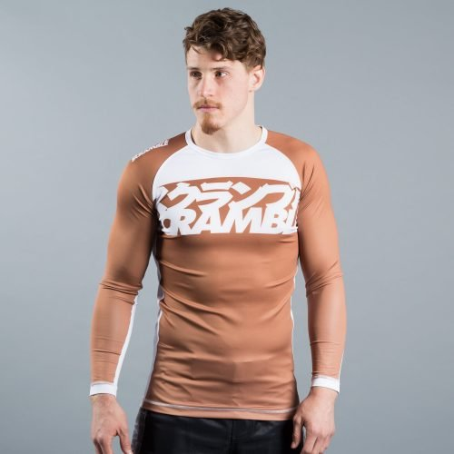 scramble ranked rash guard v3 brown - scramble bjj gear