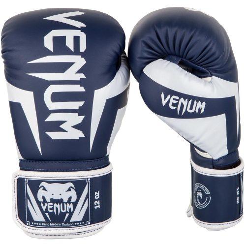 Venum Elite Boxing Gloves White Navy Blue