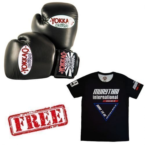 FREE Muay Thai Training Top + Yokkao Matrix Boxing Gloves Black