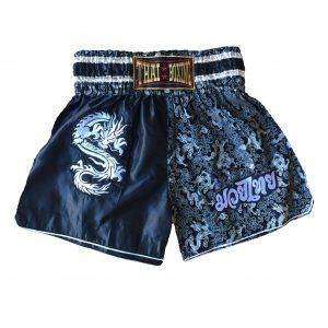 Muay Thai Dragon Shorts Black Silver