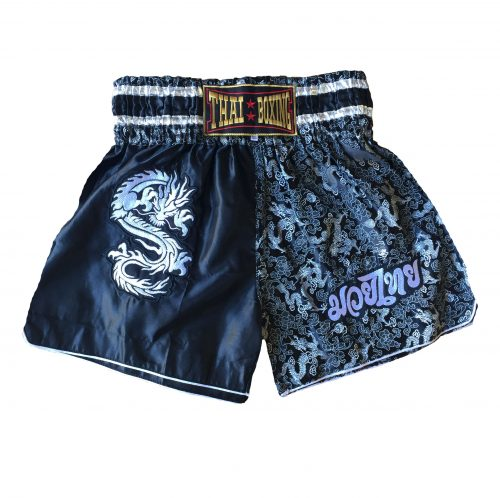 Muay Thai Dragon Shorts Black Silver
