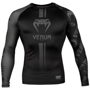 Venum Logos Rash Guard Long Sleeve Black