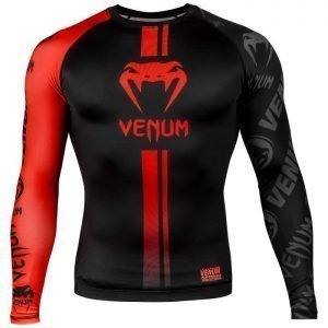 Venum Logos Rash Guard Long Sleeve Black Red
