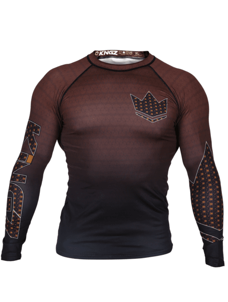Kingz Crown 3.0 Ranked Rash Guard Long Sleeve Brown