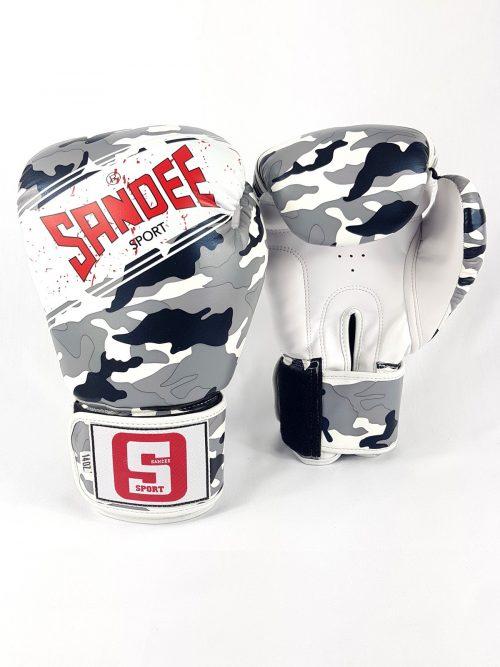 Sandee Sport Boxing Gloves Camo Grey Black White