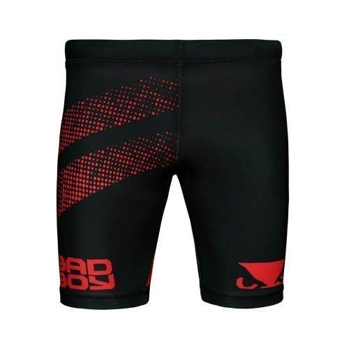 Bad Boy Impact Long Vale Tudo Compression Shorts Black Red