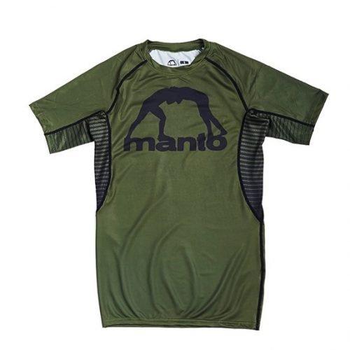 Manto Logo Rash Guard Olive Green Short Sleeve