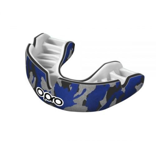 OPRO Mouth Guard Power Fit Camo Black Blue Silver