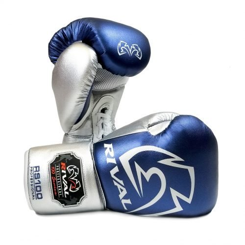 Rival RS100 Professional Sparring Boxing Gloves Blue Silver