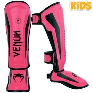 Venum Elite Kids Exclusive Fluo Pink Shin Guards
