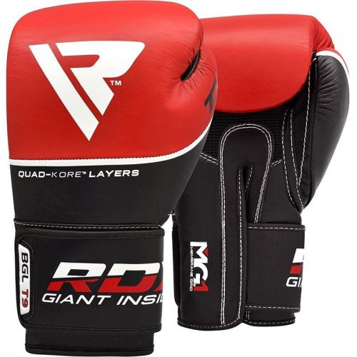 RDX T9 Ace Leather Boxing Gloves Red
