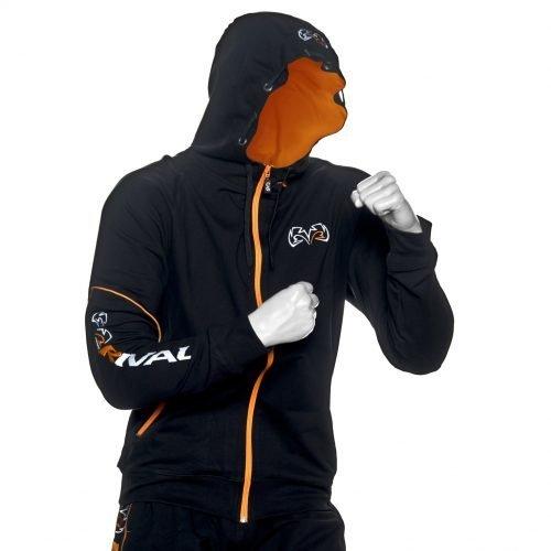 Rival Traditional Zip-Up Hoodie Black Orange