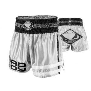 Bad Boy TII Sok Muay Thai Shorts Grey Black White