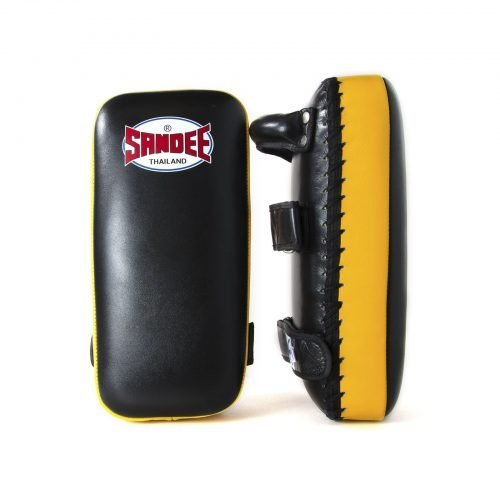 Sandee Large Extra Thick Thai Kick Pads Black & Yellow