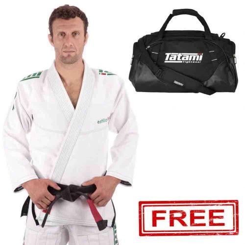 FREE TATAMI COMPETITOR KIT BAG + Estilo 6.0 White & Emerald BJJ Gi