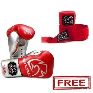 RS100 Professional Sparring Boxing Gloves Red Silver + FREE RIVAL HAND WRAPS RED
