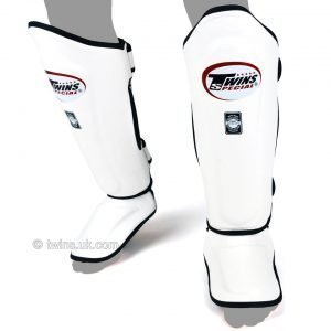 Twins Double Padded Shin Guards White Leather SGL10