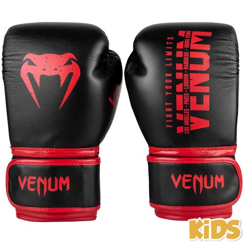 Venum Signature Kids Boxing Gloves Black Red