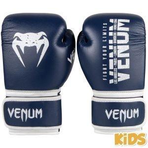 Venum Signature Kids Boxing Gloves Navy Blue White