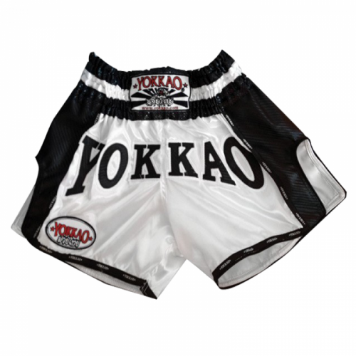 YOKKAO Carbon Muay Thai Shorts White Black