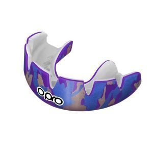 OPRO Mouth Guard Power Fit Braces Camo Lilac Gold Blue
