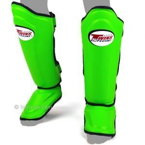 Twins Double Padded Shin Guards Lime Green Leather