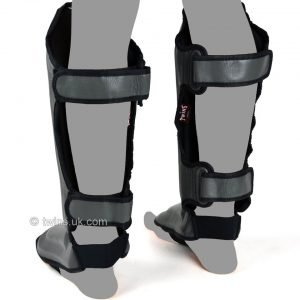 Twins Double Padded Shin Guards Grey Leather