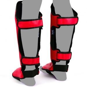 Twins Double Padded Shin Guards Red Leather