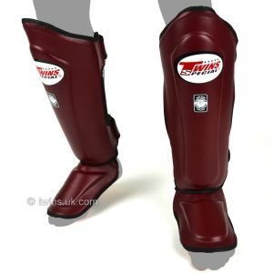 Twins Double Padded Shin Guards Maroon Leather