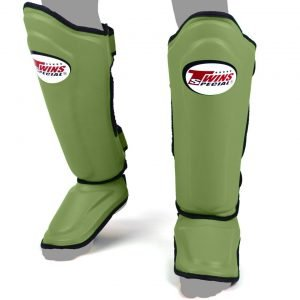 Twins Double Padded Shin Guards Olive Green Leather