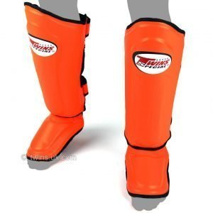 Twins Double Padded Shin Guards Orange Leather