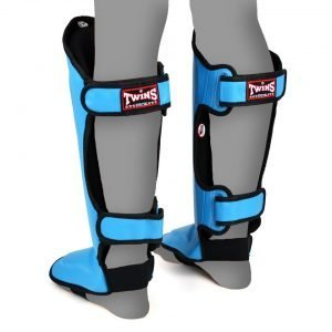 Twins Double Padded Shin Guards Sky Blue Leather