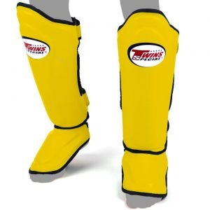 Twins Double Padded Shin Guards Yellow Leather