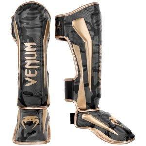 Venum Elite Shin Guards Dark Camo Gold