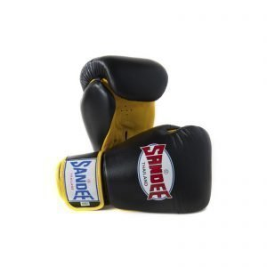 Sandee Authentic Leather Boxing Gloves Black Yellow